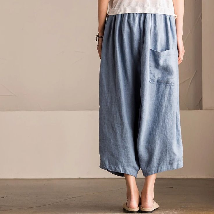 Sky blue long cotton linen trousers women clothes