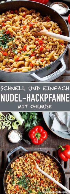 Schnelle Hackpfanne mit Hörnchennudeln und Gemüse   – Food and drink