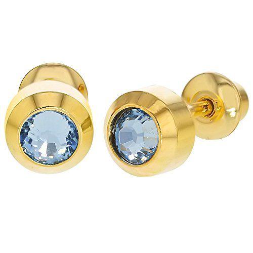 b4a6fa18a In Season Jewelry 18k Gold Plated Blue Round Bezel Crystal Baby Girl Screw  Back Earrings 4mm