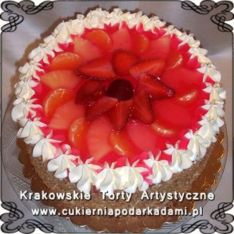 069. Tort z owocami w galaretce. Cake with fruits and red jelly.