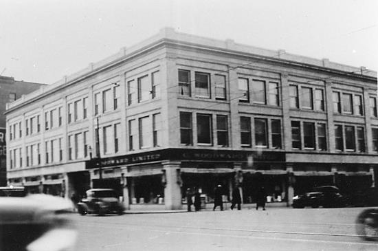Woodwards Limited. This is the old Woodwards Department store and was kitty corner to the King Edward. The TD bank tower is here now. Date unknown, possibly 1940`s. Image Courtesy of Vintage Edmonton https://www.facebook.com/TheVintageEdmonton