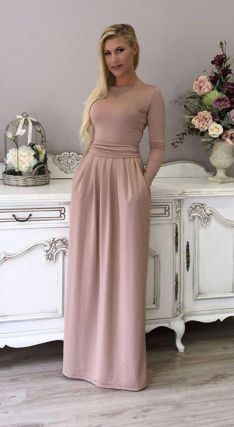 Cappuccino Maxi Women's Dress Long Sleeves Pockets