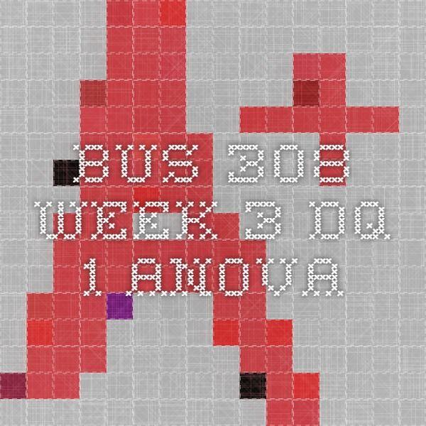 BUS 308 Week 3 DQ 1 ANOVA