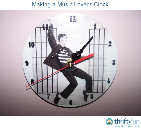 Follow this decoupage idea to make a wall-mountable clock for a music lover.