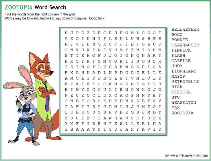 Wordsearch Party Ideas Zootopita Disney Word Disney