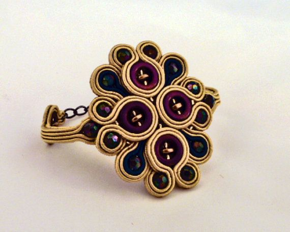 Soutache Bracelet cuff . Beaded bracelet. Golden by MollyGDesigns, £25.00