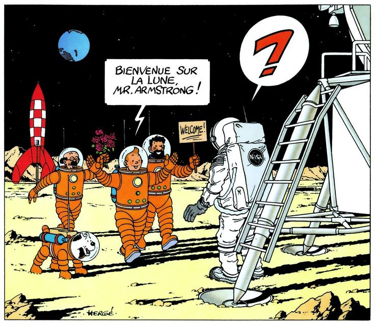 A tribute from Tintin to Neil Armstrong (From Explorers on the Moon which was one of my favorite Tintin comics growing up, because you know space!) - Imgur