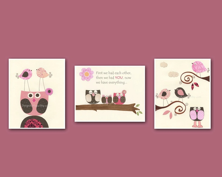 Owl baby art matching owl baby bedding penelope by pottery barn, pink and brown, baby owl nursery, set of 3 8x10 print. $50.00, via Etsy.