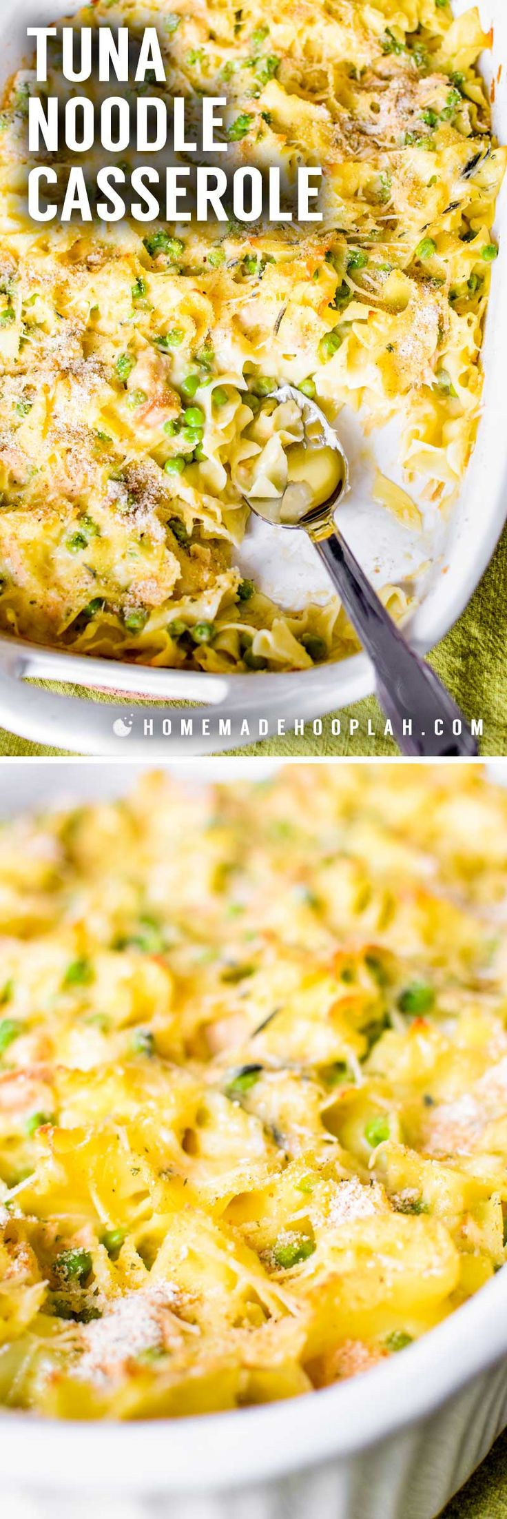 Tuna Noodle Casserole! This is a family dinner classic! Creamy and mixed cheese sauce baked with tuna, veggies, and soft egg noodles, then topped with seasoned panko breadcrumbs. | HomemadeHooplah.com