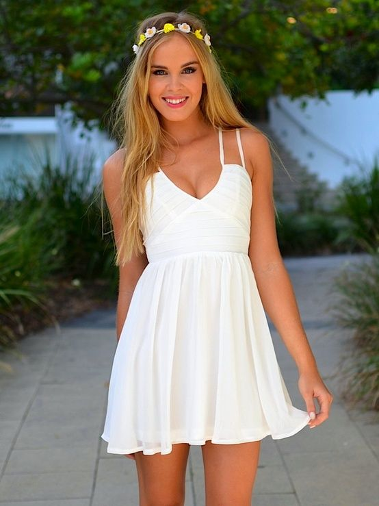 White dress with detailed top
