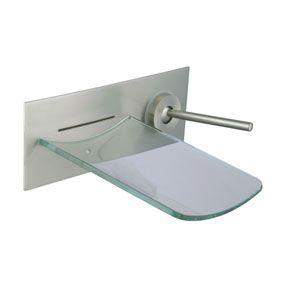 Contemporary Single Handle Waterfall Wall-mount Glass Bathtub Tap T0500N