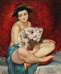 Japanese Woman with Lotus Fan by Rezsö Merenyi