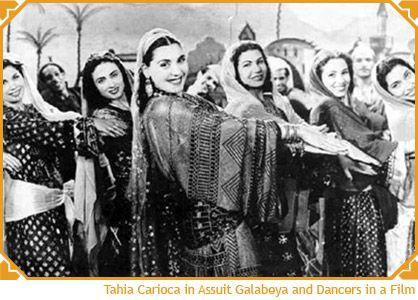 Tahia Carioca in Assuit Galabeya & dancers in a film.