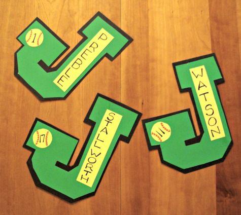 Varsity letter team locker signs