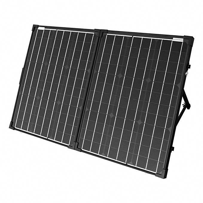 Acopower Uv11007gd 100w Foldable Solar Panel Kit 12v Battery And Generator Ready Suitcase With Charge Controll Solar Panels Best Solar Panels Solar Panel Kits
