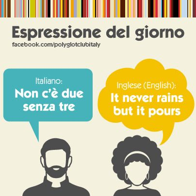 Learning Italian Language ~ Italian / English idiom: it never rains but it pours