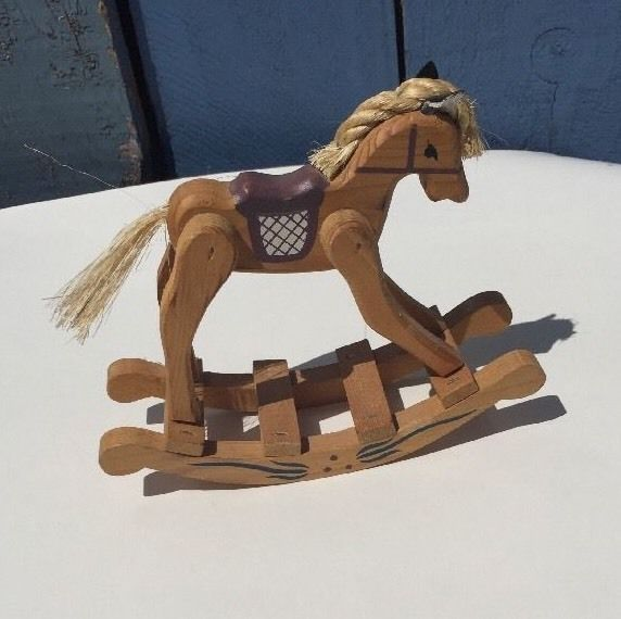 RARE VINTAGE  WOODEN ROCKING Horse Toy Size