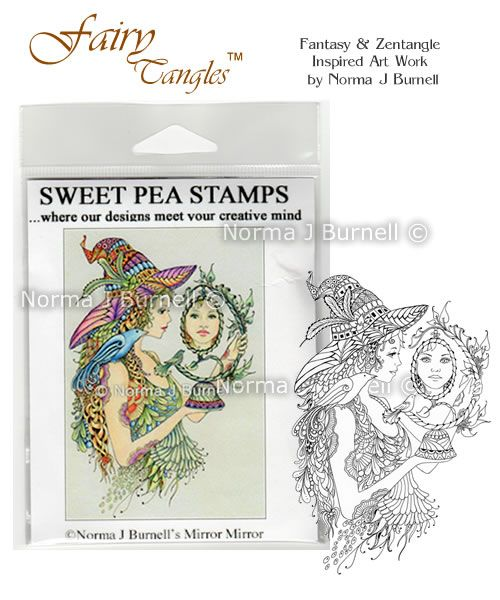 """New release Rubber Stamp for crafting: """"Mirror Mirrow"""" available at https://www.etsy.com/shop/FairyTangleArt  or at http://sweetpeastamps.com"""