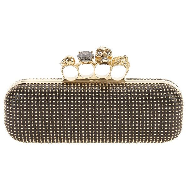 Blk Gold Studded Knuckle Box Clutch Alexander Mcqueen 1895: Knuckle Box, Alexander Mcqueen, Black Gold, Brass Knuckle, Studded Knuckle