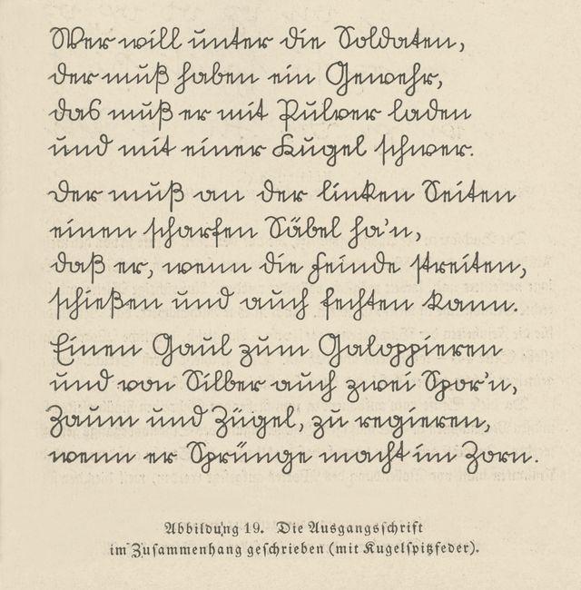 Text mit Kugelspitzfeder Schriftprobe mit Kugelspitzfeder in deutscher Kurrent Sütterlin, Schriftprobe (deutsche Kurrent) - Sütterlinschrift – Wikipedia