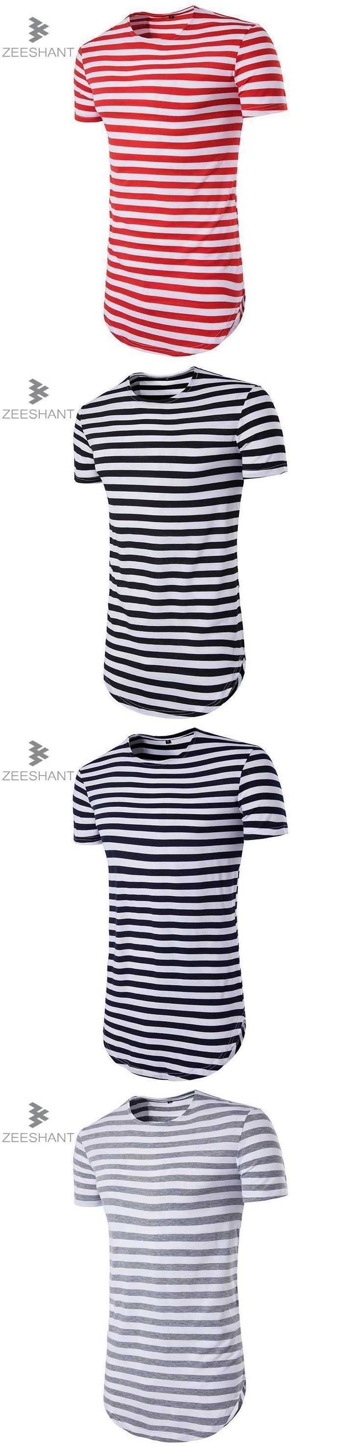 ZEESHANT Streetwear Men t shirt extended longline hipster t shirt men stripes t shirt Homme Long Line Striped T shirt Homme #menst-shirtshipster