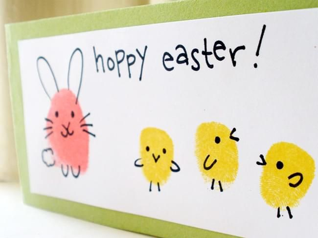 Card Making Ideas For Kids Part - 39: Easter Bunny And Chick Fingerprint Card - Simple Card Making Ideas For Kids  Viau2026