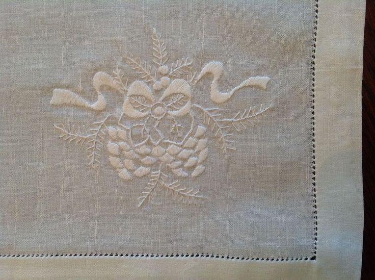 HEMSTITCH SATIN STITCHED PINE CONE LINEN EMBROIDER GUEST TOWEL  SHOP NOW https://thelaceandlinensco.com/store/products/hemstitch-satin-stitched-pine-cone-linen-handmade-guest-towel  #shopvintage #vintagedecor #weddings #lace #battenburg #antique #handembroidered #vintagedoily #vintagefinds #victorian #vintagegoods #vintagelinens #linens #vintagetablecoth #tablecloth #decor #cotton #bedding #cottage #home #1940s #curtains #shower #french #vintagecotton #diy #vintagebaby #christmas