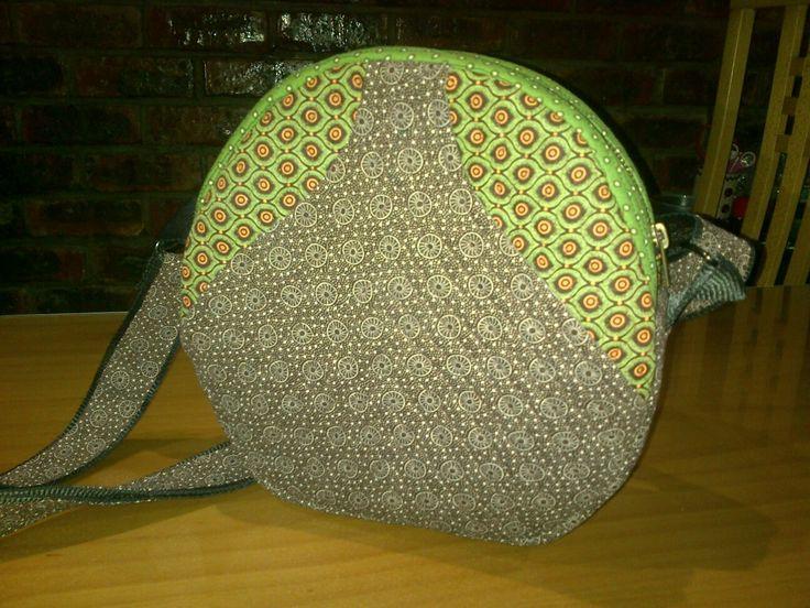 Handmade handbag brown and green shweshwe