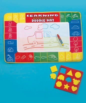 """Learning Water Painting Doodle Mat Set by Toy Delights. $16.99. Sketch your own picture, use the included foam stencil sheet for tracing or follow the instructions for dozens of other drawings. Lightweight polyester mat folds for easy transport. Nontoxic. 29"""" x 20"""". For ages 3 and up. Fill the pen with water, draw on the mat and watch as your artwork comes to life in color. When the water dries, the art disappears. Children can have a lot of fun without making a mess with the ..."""