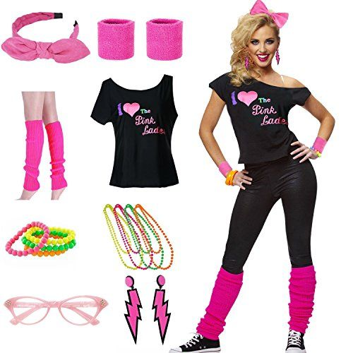 b8d29f816deb98 Women s I Love The Pink Ladies 80s T-Shirt Costume Set - S to XXL ...