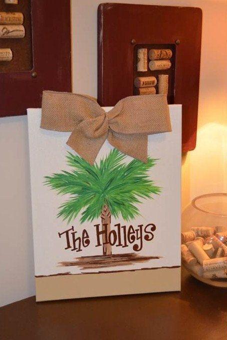 Palmetto Tree Family Name Painting. $34.00, via Etsy.
