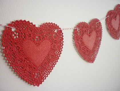 Doily heart and small heart paper bunting
