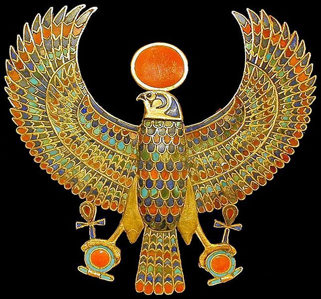A jeweled falcon of Tutankhamun holding the 'ankh' or sign for life in Ancient Egypt