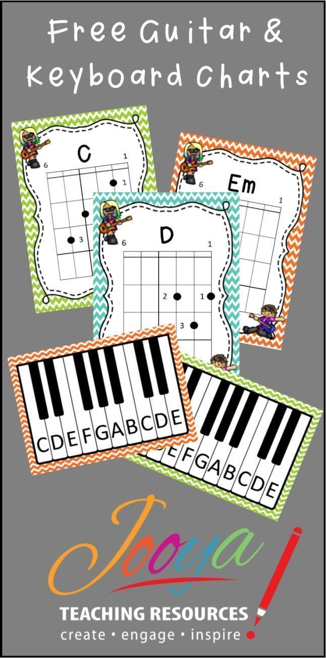 FREE guitar chord charts and Keyboard posters for your Music class room from Jooya Teaching Resources. Enjoy!