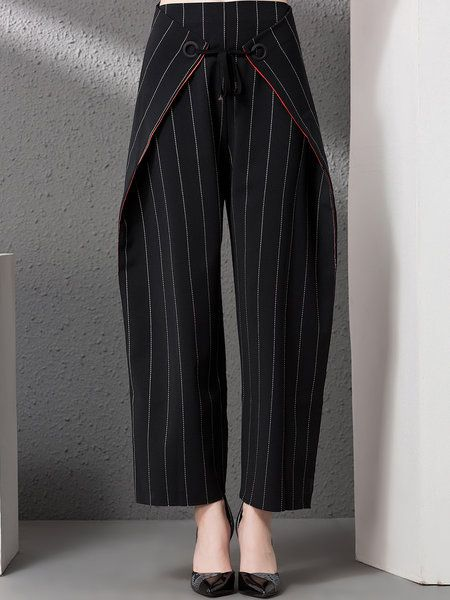 Shop Wide Leg Pants - Black Pockets Stripes Statement Wide Leg Pant online. Discover unique designers fashion at StyleWe.com.