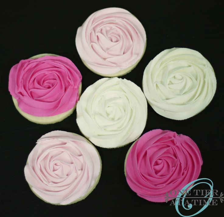 Ombre pink rosette sugar cookies with royal icing
