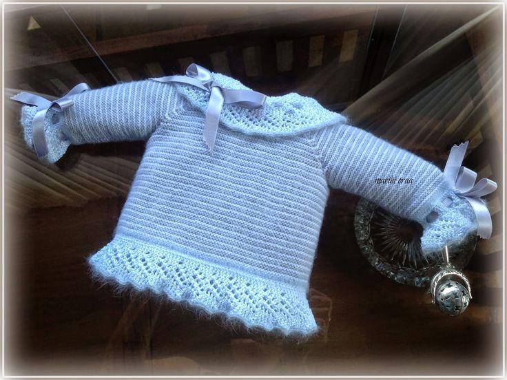 EXPLICACIONES - En lana, perlé y angora para bebé: Tutorial chaquetita rayada gris y blanca, 0-3 meses