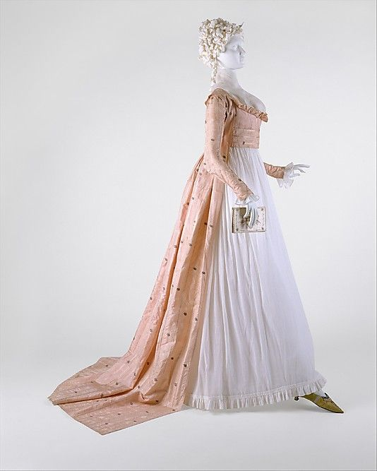Dress    Date:      1790s  Culture:      American  Medium:      silk  Dimensions:      Length at CB: 70 in. (177.8 cm)  Credit Line:      Purchase, The Coby Foundation Ltd. Gift, 1998  Accession Number:      1998.269