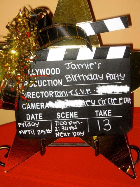 Hollywood Clapboard Birthday Invitation. Hollywood Party ThemenHollywood  EinladungenHollywood ...