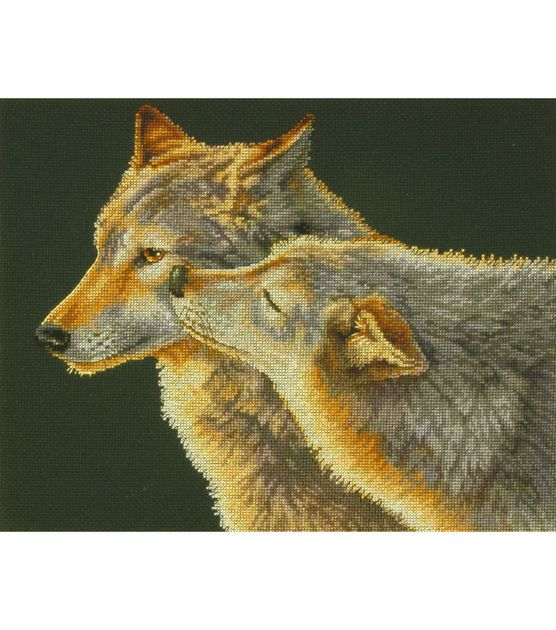 "Wolf Kiss Counted Cross Stitch Kit-14""X11"" 14 Count, , hi-res"