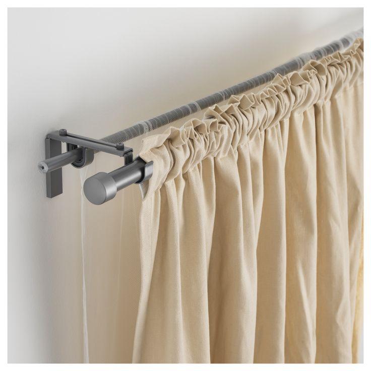 IKEA   RÄCKA / HUGAD Double Curtain Rod Combination Silver Color