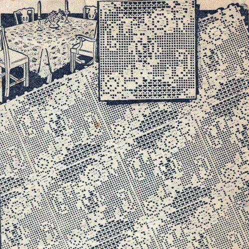 PDF Filet Crochet Motif Square Flower Floral Pattern