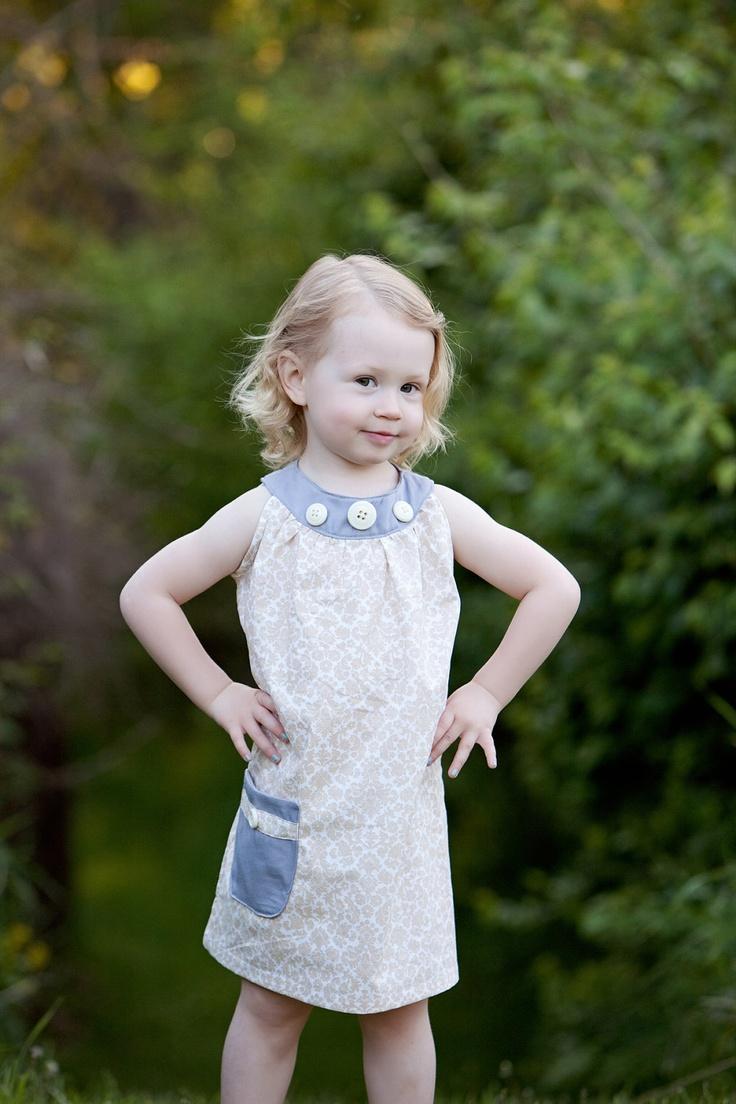 Toddler girls sleeveless dress in cream & gray by thetinythimble. $30.00, via Etsy.