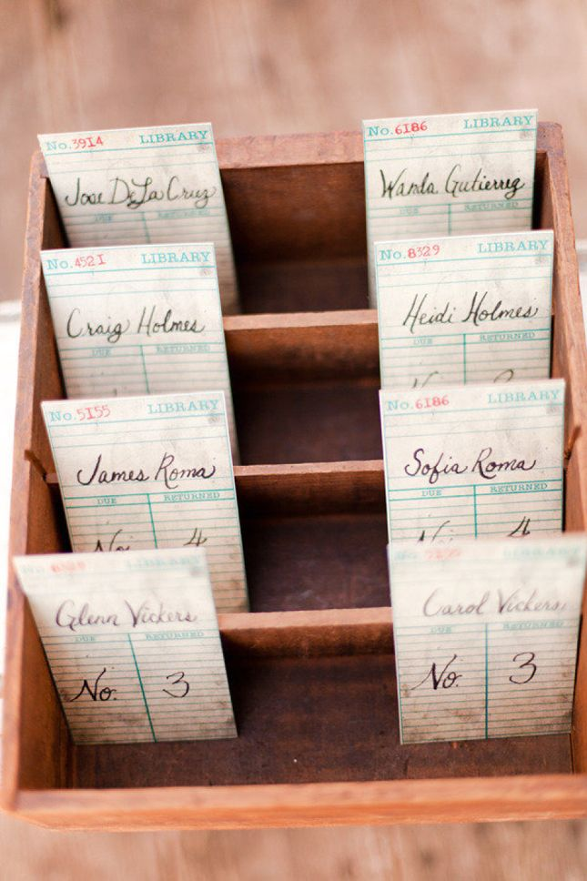 Antique escort cards | 30 Ideas for a Book-Inspired Wedding via Brit + Co.                                                                                                                                                                                 More