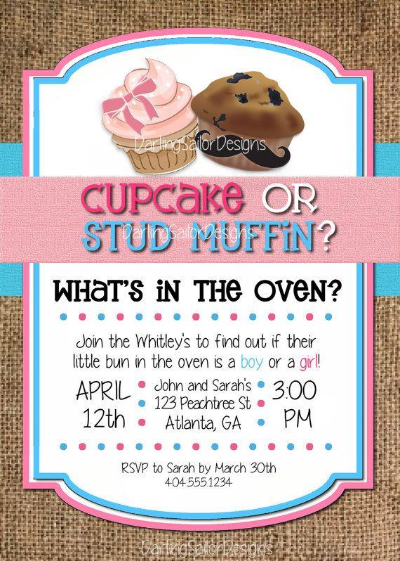 The ORIGINAL Cupcake or Stud Muffin Gender Reveal Invitation by DarlingSailorDesigns