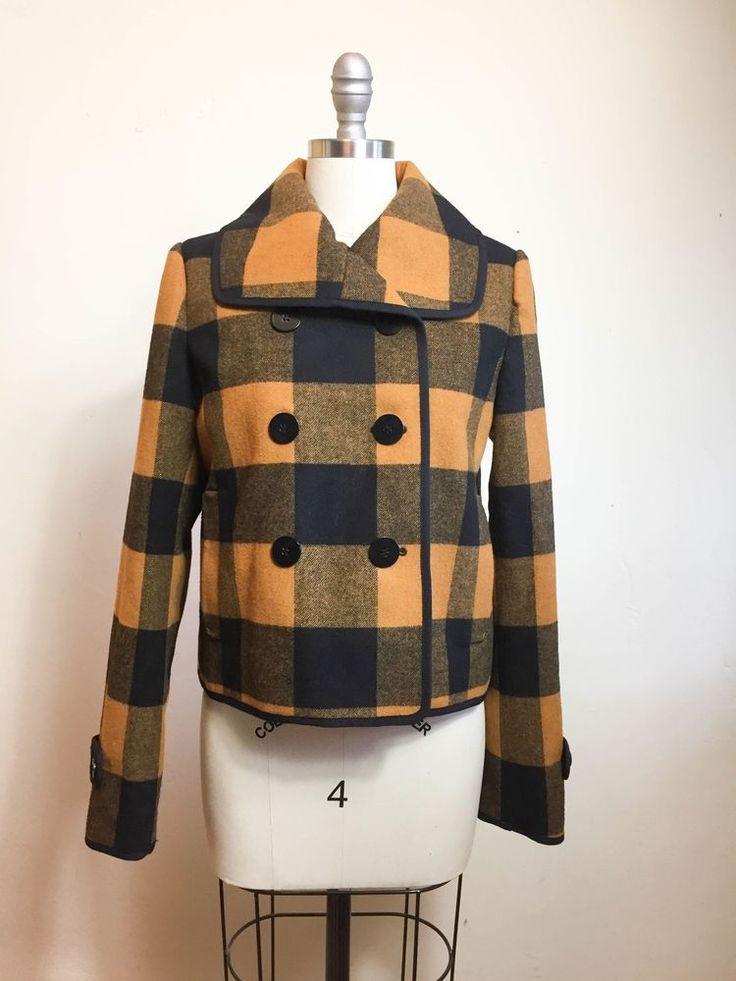 ANN TAYLOR LOFT Mustard Wool Checkered Short Jacket Size S ...