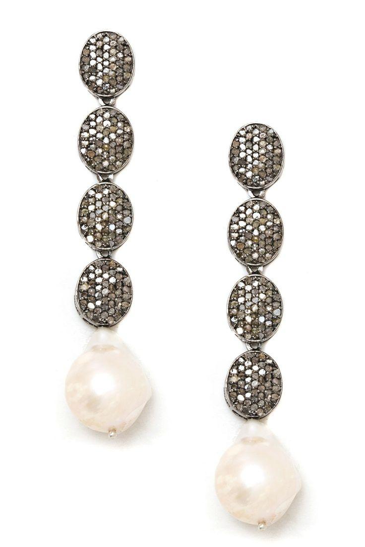 Pave Champagne Diamond & Pearl Drop Earrings