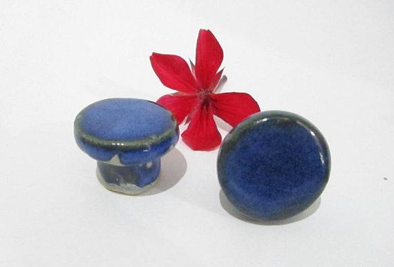 Blue Knobs, Door Knobs, Door Pulls, Small Round Ceramic Knobs, Cabinet Handles Handmade Ceramics