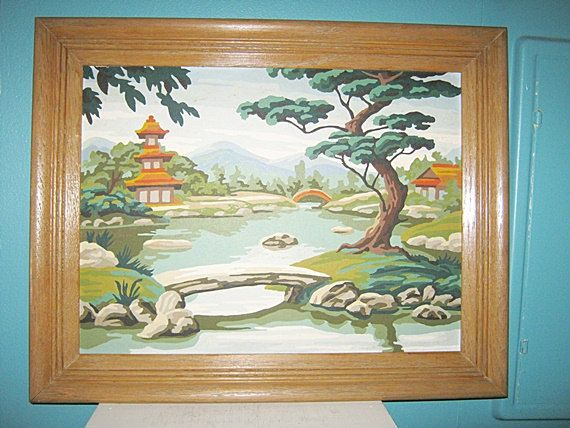 Asian Paint By Number Painting, Mid Century Craft Item, Framed by Junkblossoms on Etsy