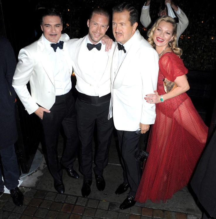 Photobomb! Kate Moss joked around with the birthday boy outside the Chiltern Firehouse as guests arrived.